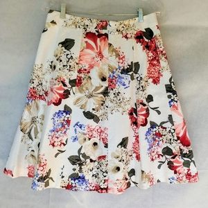 WHBM Flared Pleated Midi Skirt Floral Print Sz 6